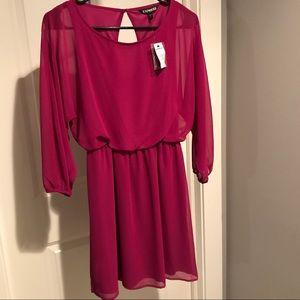 Express Dresses - 🆕NWT Express Fuchsia Dress Sheer Sleeve XS